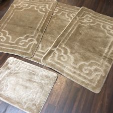 ROMANY WASHABLES GYPSY MATS 4PC SETS NON SLIP GERMAN BOARDER DESIGN BEIGE CARPET